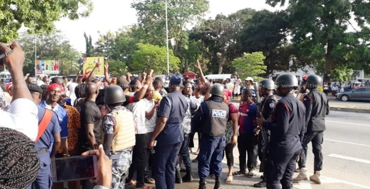 NDC supporters march to Electoral Commission headquarters, Frederick Nuetei