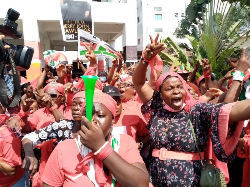 """NDC women supporters protest in Greater Accra Region against the 2020 presidential results in what they call a """"stolen verdict"""" for President-Elect, Nana Akufo-Addo"""