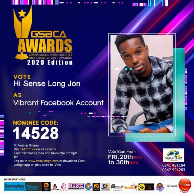 Hi Sense Long Jon nominated for Ghana Social Media Business And Creative Arts Awards