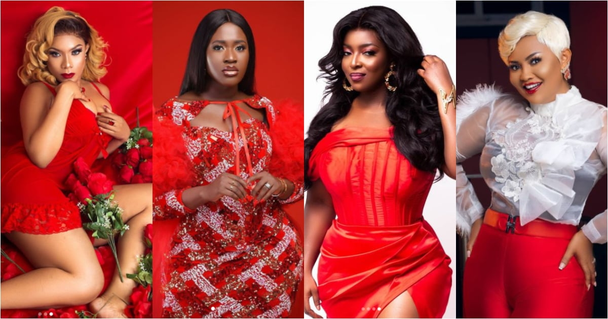 , Val's Day: Ghanaian female celebs who showed their beauty in red attire to mark Val, Frederick Nuetei
