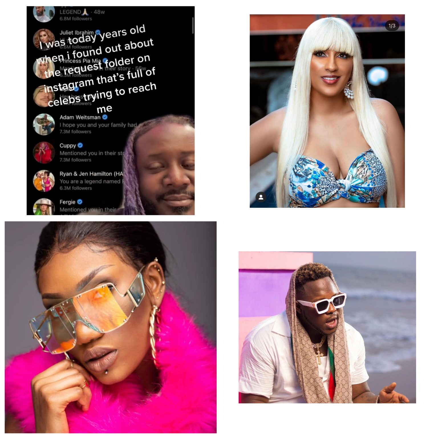 , T-Pain apologises to Medikal, Juliet Ibrahim, DJ Cuppy and others he unknowingly ignored on instagram for 2 years, Frederick Nuetei