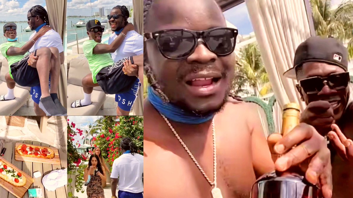 , Jupitar carry Shatta Wale like a baby as they hit on 'Star Life' music video shooting in Miami, Frederick Nuetei