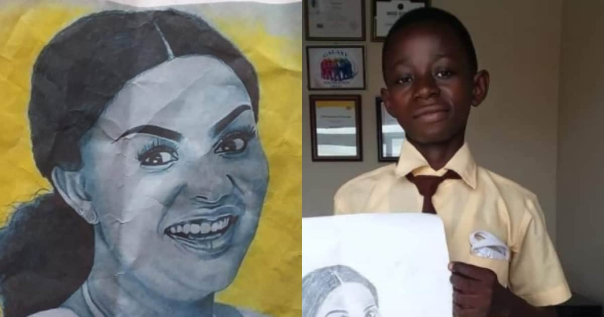 , Talented Form 3 student produce a stunning look-alike drawing of renowned actress Nana Ama MacBrown; photo drops, Frederick Nuetei