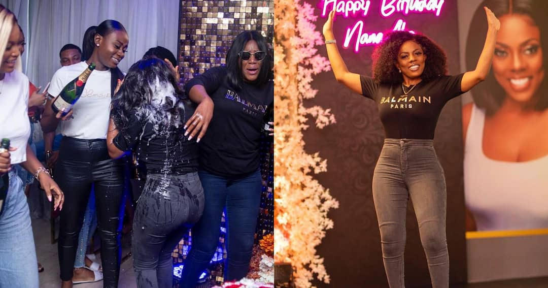 , Nana Aba Anamoah has finally caught one of the thieves who stole her scented candles at her birthday party; photo drops, Frederick Nuetei