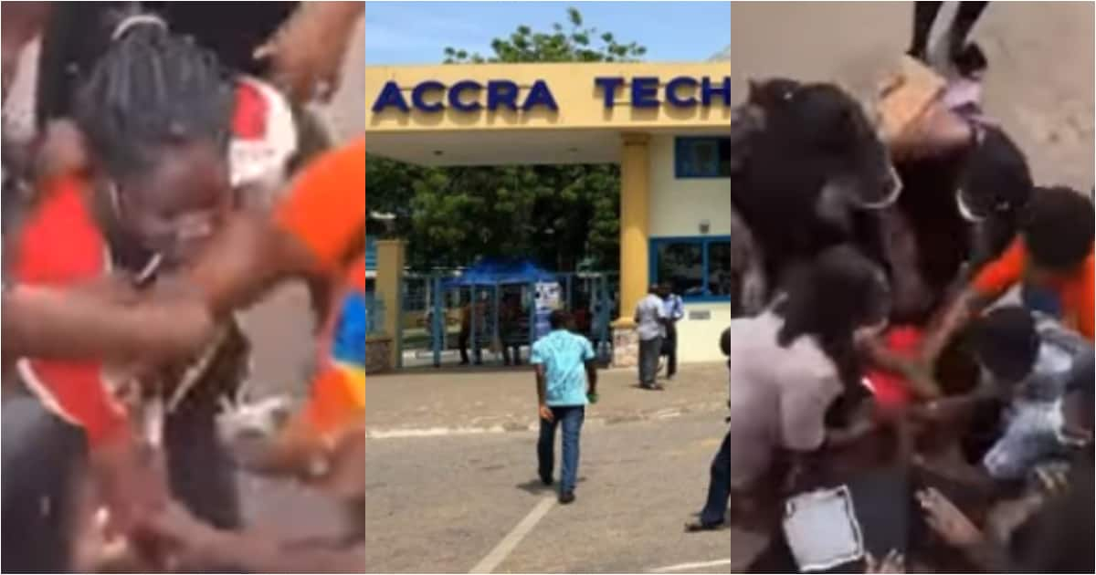 , Two ladies fight over a man at ATU; one drags rival's hair in video, Frederick Nuetei