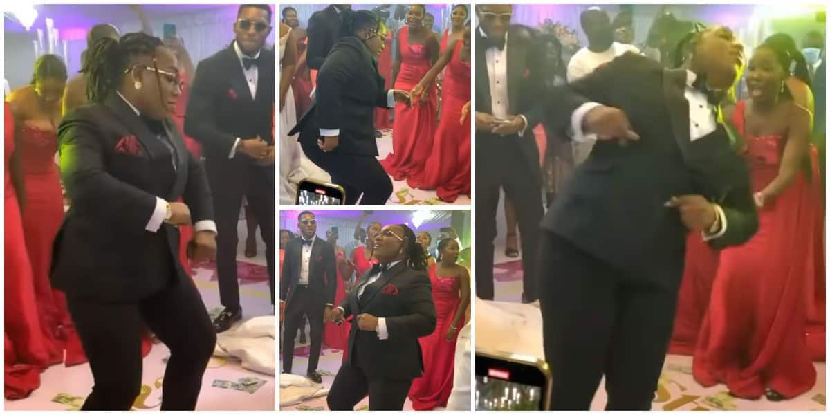 , Groomslady causes Bride and Groom to pause as she display fine legwork in viral video, Frederick Nuetei