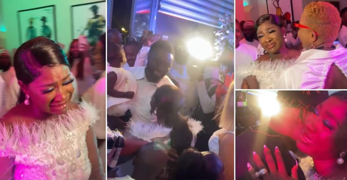 , Mercy Johnson in tears, kneels down to thank hubby at her surprise b'day party, Frederick Nuetei
