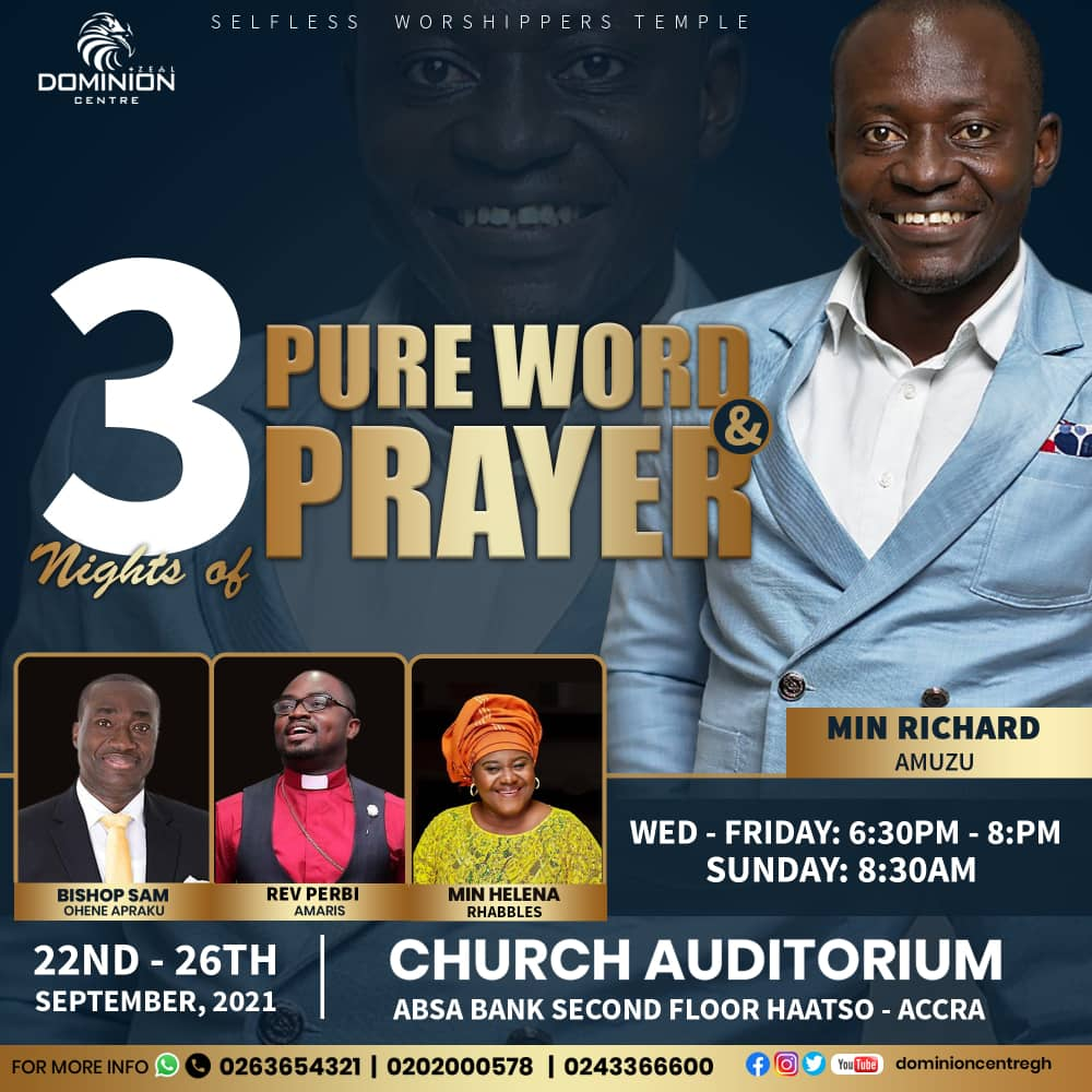 , Dominion Centre presents 3 Nights of Pure Word and Prayer, Frederick Nuetei